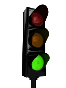 Traffic light over white background