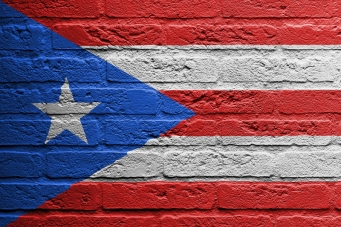 Brick wall with a painting of a flag, Puerto Rico